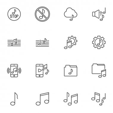 Music sound line icons set, outline vector symbol collection, linear style pictogram pack. Signs logo illustration. Set includes icons as musical note, song melody, audio speaker, volume sound, folder icon