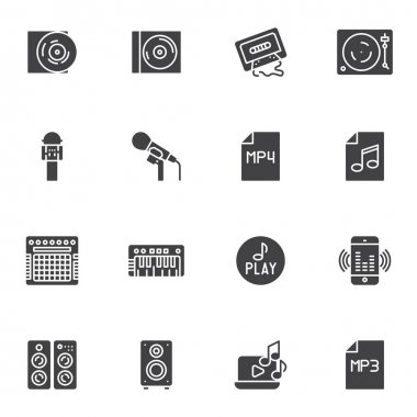 Music vector icons set, modern solid symbol collection, filled style pictogram pack. Signs, logo illustration. Set includes icons as cd disk, audio cassette tape, microphone, amplifier, sound speaker icon