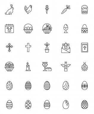 Happy Easter line icons set. linear style symbols collection, outline signs pack. vector graphics. Set includes icons as Easter egg, holy angel, egg basket, bunny, chicken, bible book, religious cross icon