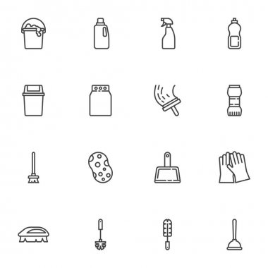 Cleaning service line icons set, outline vector symbol collection, linear style pictogram pack. Signs, logo illustration. Set includes icons as sponge, laundry, toilet brush, trash bin, detergent icon
