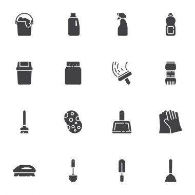 Cleaning service vector icons set, modern solid symbol collection, filled style pictogram pack. Signs, logo illustration. Set includes icons as sponge, laundry, toilet brush, trash bin, detergent icon