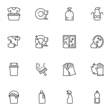 Maid and cleaning service line icons set, outline vector symbol collection, linear style pictogram pack. Signs logo illustration. Set includes icons - gloves, detergent spray, window cleaning, laundry icon