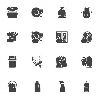 Maid and cleaning service vector icons set, modern solid symbol collection, filled style pictogram pack. Signs logo illustration. Set includes icons - gloves, detergent spray, window cleaning, laundry icon
