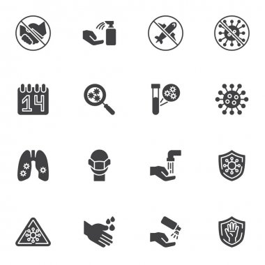 Coronavirus prevention vector icons set, modern solid symbol collection, filled style pictogram pack. Signs, logo illustration. Set includes icons as antiseptic spray, corona virus, covid-19 test icon
