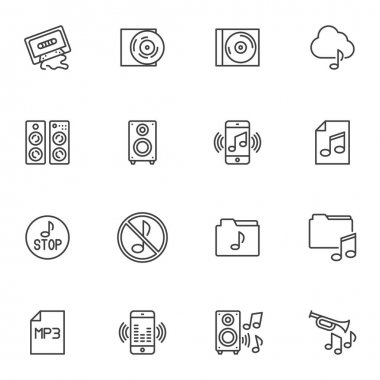 Music related line icons set, outline vector symbol collection, linear style pictogram pack. Signs, logo illustration. Set includes icons as stop music, audio sound, stereo speaker, media folder icon