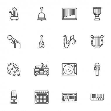Music sound line icons set, outline vector symbol collection, linear style pictogram pack. Signs, logo illustration. Set includes icons as ring bell, guitar musical instrument, headphones, microphone icon