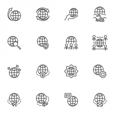 Global business line icons set, outline vector symbol collection, linear style pictogram pack. Sign logo illustration. Set includes icons - outsourcing, deal agreement, business strategy, world travel icon