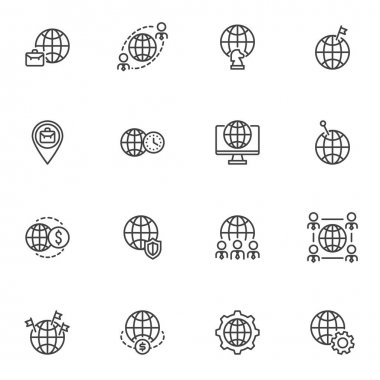 International Business line icons set, outline vector symbol collection, linear style pictogram pack. Signs logo illustration. Set includes icons - world business, currency money transfer, outsourcing icon