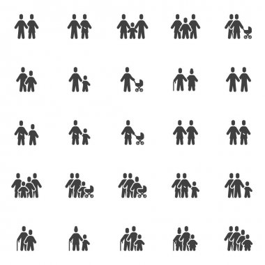 Family and relationship vector icons set, modern solid symbol collection, filled style pictogram pack. Signs, logo illustration. Set includes icons as four people family, mother, father, son, daughter icon