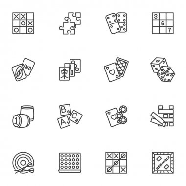 Board games line icons set, outline vector symbol collection, linear style pictogram pack. Signs, logo illustration. Set includes icons as playing card, puzzle, dominoes game, tic tac toe icon
