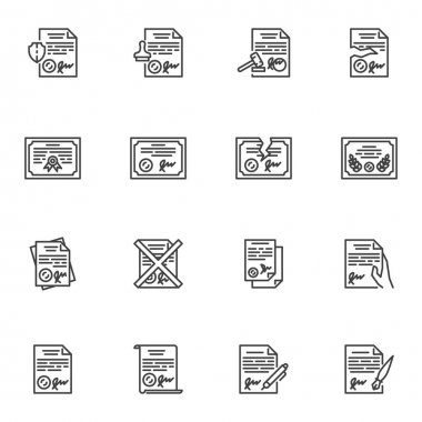 Legal documents line icons set, outline vector symbol collection, linear style pictogram pack. Signs, logo illustration. Set includes icons as quality certificate, contract document, license stamp icon