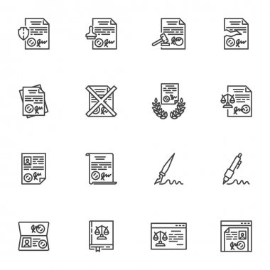 Legal document line icons set, outline vector symbol collection, linear style pictogram pack. Signs logo illustration. Set includes icons - document signing, law book, online lawyer service, insurance icon
