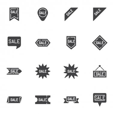 Special offer badge vector icons set, modern solid symbol collection, filled style pictogram pack. Signs, logo illustration. Set includes icons as price tag, discount label, sale badge icon