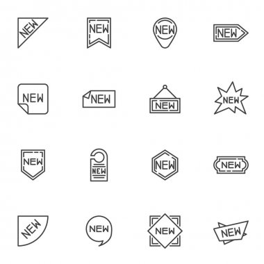 Promo label line icons set, outline vector symbol collection, linear style pictogram pack. Signs, logo illustration. Set includes icons as new collection, special promotion icon