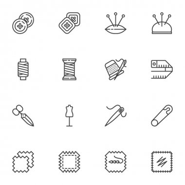 Needlework, sewing line icons set, embroidery outline vector symbol collection, linear style pictogram pack. Signs, logo illustration. Set includes icons as thread bobbin, needle, patch, button icon