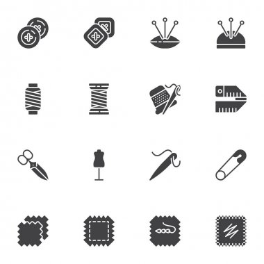 Needlework, sewing vector icons set, modern solid symbol collection, filled style pictogram pack. Signs, logo illustration. Set includes icons as thread bobbin, needle, patch, button icon