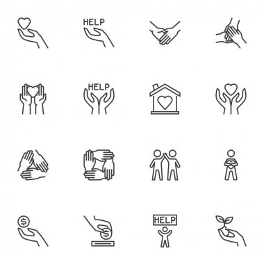 Charity and volunteer line icons set, outline vector symbol collection, linear style pictogram pack. Signs, logo illustration. Set includes icons as hand with heart, friendship, money donation, help icon