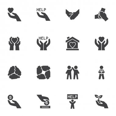 Charity and volunteer vector icons set, modern solid symbol collection, filled style pictogram pack. Signs, logo illustration. Set includes icons as hand with heart, friendship, money donation, help icon