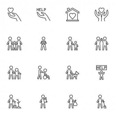 Volunteering and charity line icons set, outline vector symbol collection, linear style pictogram pack. Signs, logo illustration. Set includes icons as family relationship, friendship togetherness icon