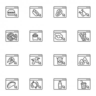 Online food ordering line icons set, outline vector symbol collection, linear style pictogram pack. Signs, logo illustration. Set includes icons as fast food website, take away restaurant menu icon