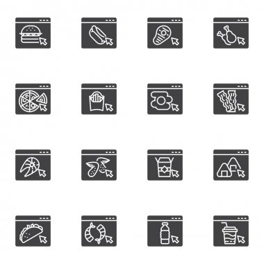 Online food ordering vector icons set, modern solid symbol collection, filled style pictogram pack. Signs, logo illustration. Set includes icons as fast food website, take away restaurant menu icon