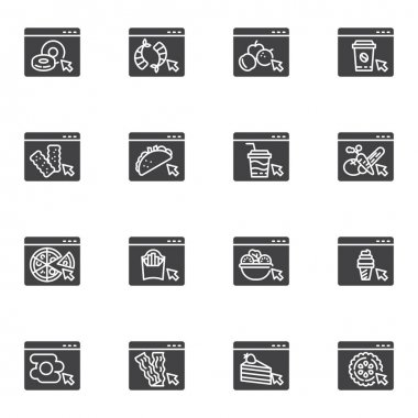 Online restaurant menu vector icons set, modern solid symbol collection, filled style pictogram pack. Signs, logo illustration. Set includes icons as online food ordering, fresh fruit and vegetable icon