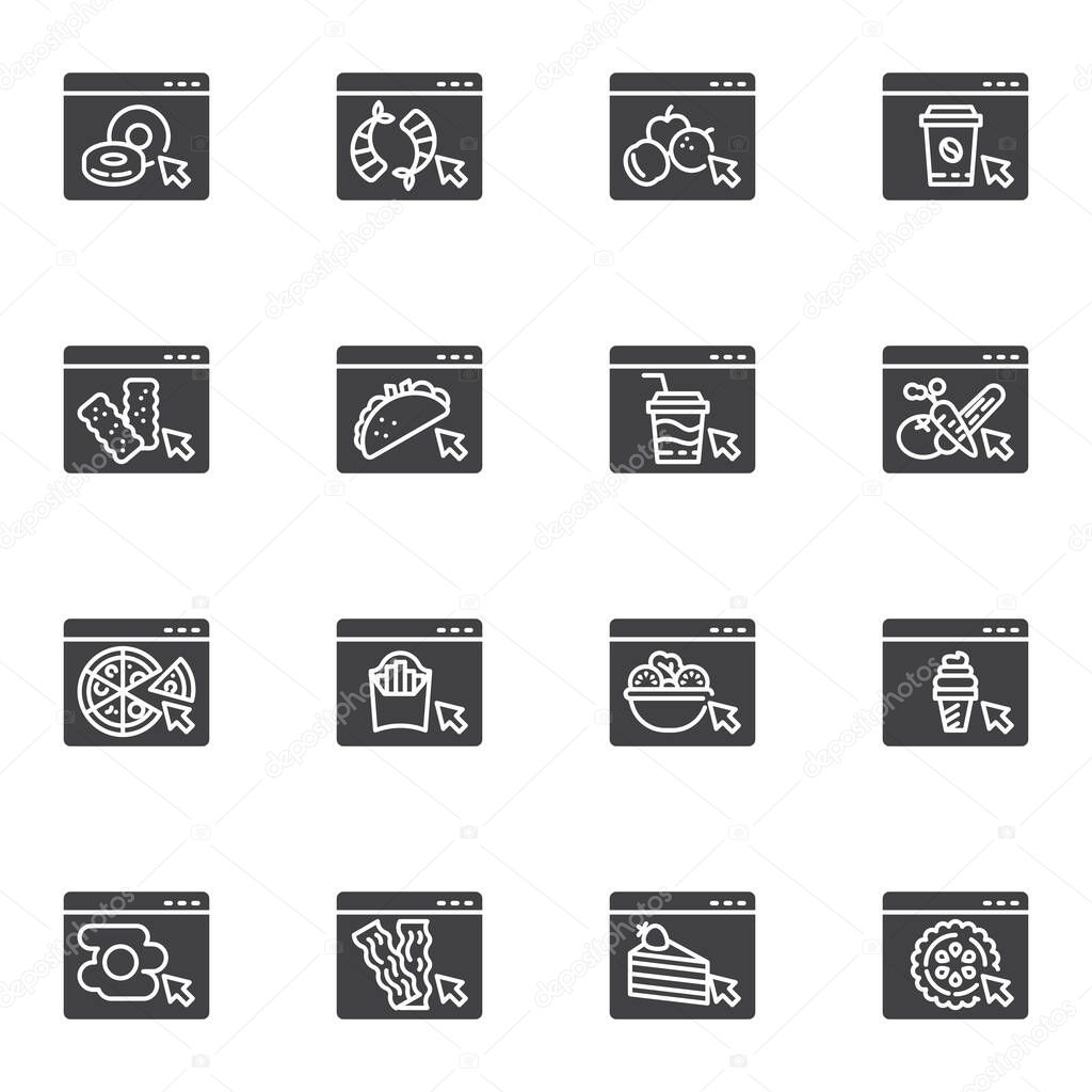 Online restaurant menu vector icons set  modern solid symbol collection  filled style pictogram pack icon