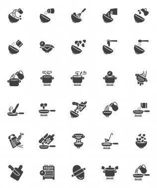 Cooking instructions vector icons set, modern solid symbol collection, filled style pictogram pack. Signs, logo illustration. Set includes icons as frying pan, saucepan on gas stove, dough rolling pin icon