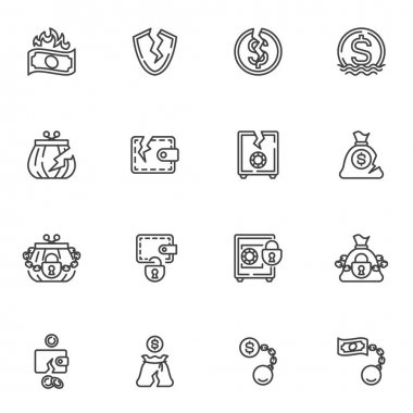 Bankruptcy line icons set, financial crisis outline vector symbol collection, linear style pictogram pack. Signs, logo illustration. Set includes icons as business problem, money loss, cash burning icon