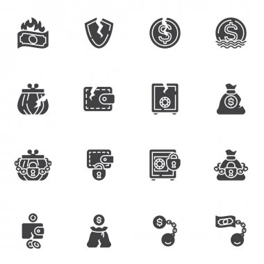 Bankruptcy vector icons set, financial crisis modern solid symbol collection, filled style pictogram pack. Signs, logo illustration. Set includes icons as business problem, money loss, cash burning icon