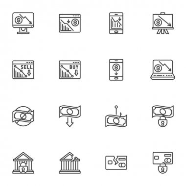 Financial crisis line icons set, business problem outline vector symbol collection, bankruptcy linear style pictogram pack. Signs, logo illustration. Set includes icons as money loss, credit card icon