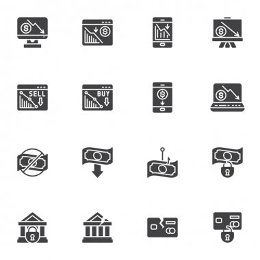 Financial crisis vector icons set, business problem modern solid symbol collection, bankruptcy filled style pictogram pack. Signs, logo illustration. Set includes icons as money loss, credit card icon