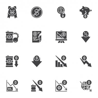 Bankruptcy and financial crisis vector icons set, business finance crisis modern solid symbol collection, filled style pictogram pack. Signs, logo illustration. Set includes icons as money problem icon