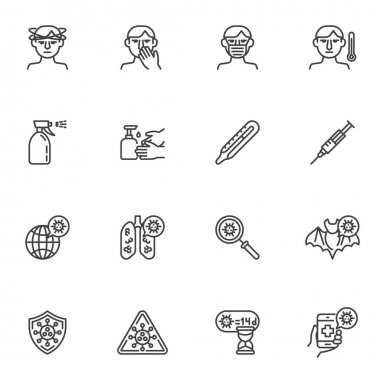 Coronavirus disease line icons set, outline vector symbol collection, linear style pictogram pack. Signs, logo illustration. Set includes icons as coronavirus lung disease, face mask, headache, fever icon