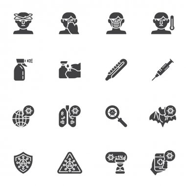 Coronavirus disease vector icons set, modern solid symbol collection, filled style pictogram pack. Signs, logo illustration. Set includes icons as coronavirus lung disease, face mask, headache, fever icon