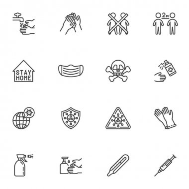 Coronavirus prevention line icons set, outline vector symbol collection, linear style pictogram pack. Signs logo illustration. Set includes icons as hand washing, social distancing, face mask, vaccine icon
