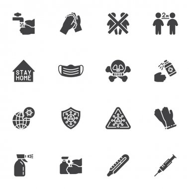 Coronavirus prevention vector icons set, modern solid symbol collection, filled style pictogram pack. Signs logo illustration. Set includes icons as hand washing, social distancing, face mask, vaccine icon
