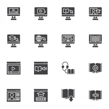 E-learning vector icons set, online education modern solid symbol collection, filled style pictogram pack. Signs, logo illustration. Set includes icons as digital library, online courses, audio book icon