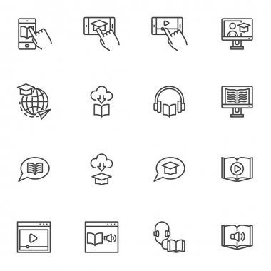 Online education line icons set, e-learning outline vector symbol collection, linear style pictogram pack. Signs, logo illustration. Set includes icons as audio book, mobile learning, video tutorials icon