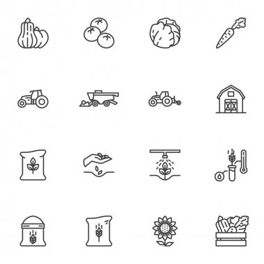 Agriculture and farming line icons set, outline vector symbol collection, linear style pictogram pack. Signs, logo illustration. Set includes icons as vegetable harvest, tractor, farm barn, harvester icon