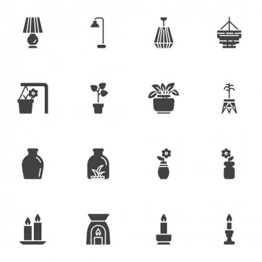 Home decor vector icons set, modern solid symbol collection, filled style pictogram pack. Signs, logo illustration. Set includes icons as table lamp, chandelier, houseplant, flower pot, vase, candles icon