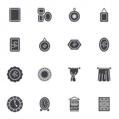 Home interior decoration vector icons set, modern solid symbol collection, filled style pictogram pack. Signs, logo illustration. Set includes icons as picture frame, mirror, curtain, carpet, clock icon