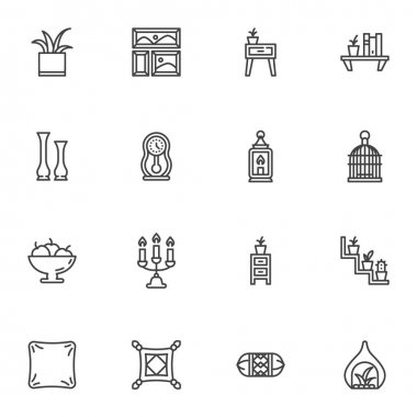 Furniture and home decor line icons set, outline vector symbol collection, linear style pictogram pack. Signs logo illustration. Set includes icons as bookshelf, houseplant, cushion pillow, nightstand icon
