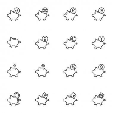 Piggy bank line icons set, outline vector symbol collection, linear style pictogram pack. Signs, logo illustration. Set includes icons as financial investment, currency money savings icon