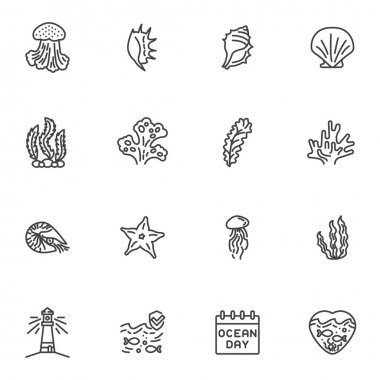 World ocean day line icons set, outline vector symbol collection, linear style pictogram pack. Signs, logo illustration. Set includes icons as seashell, seaweed, starfish, lighthouse, jellyfish, fish icon