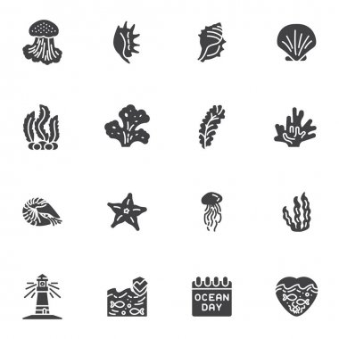 World ocean day vector icons set, modern solid symbol collection, filled style pictogram pack. Signs, logo illustration. Set includes icons as seashell, seaweed, starfish, lighthouse, jellyfish, fish icon