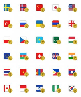 Currency money with flag collection, foreign money flat icons set, Colorful symbols pack contains - USD, Canadian dollar, Russian ruble, Chinese yuan, GBP, JPY . Vector illustration. Flat style design icon