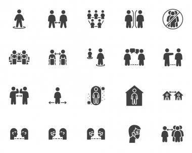 Social distancing vector icons set, modern solid symbol collection, filled style pictogram pack. Signs, logo illustration. Set includes icons as keep your distance, stay home, coronavirus prevention icon