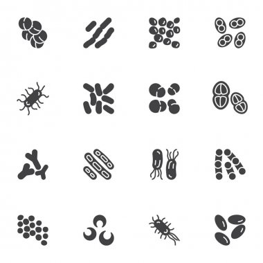 Bacteria and germs vector icons set, microbes and viruses modern solid symbol collection, filled style pictogram pack. Signs, logo illustration. Set includes icons as lactococcus cell, pneumococcus icon