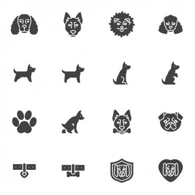Pet dog training vector icons set, modern solid symbol collection, filled style pictogram pack. Signs, logo illustration. Set includes icons as pooping dog, spitz puppy, animal paw print, collar icon